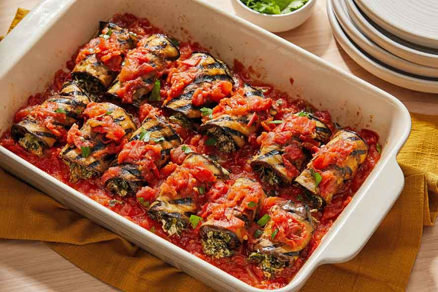 Straddling both summer & Fall, these eggplant rolls-ups feature fresh, healthful comfort --- and delish dining