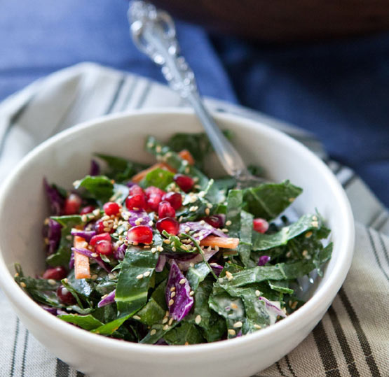 With its colorful cache of purples, oranges and reds, Collard Green Slaw is a marvelous mood booster --- not to mention just downright  delish